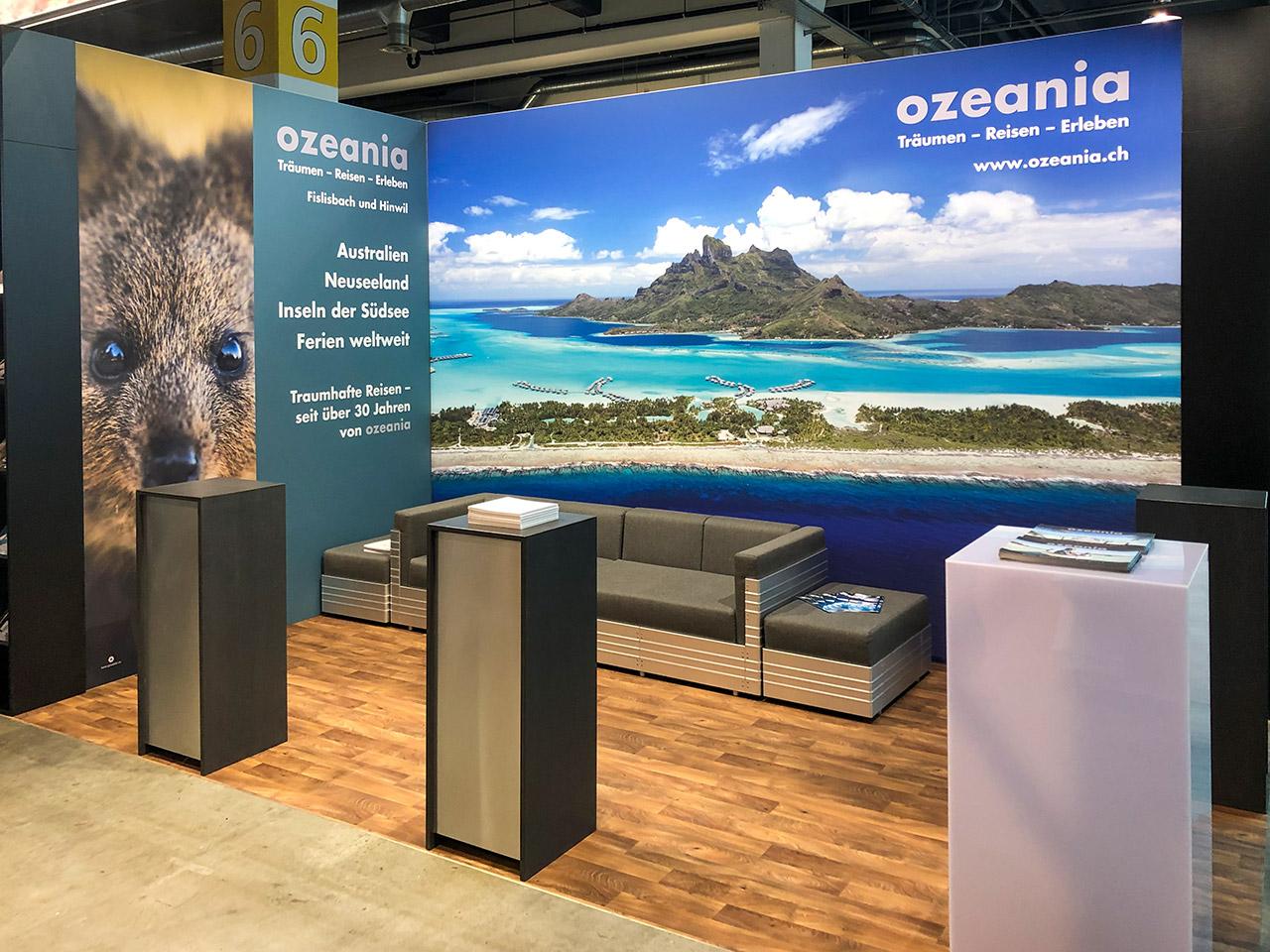 Messestand von Ozeania Reisen an der Fespo Zürich 2020